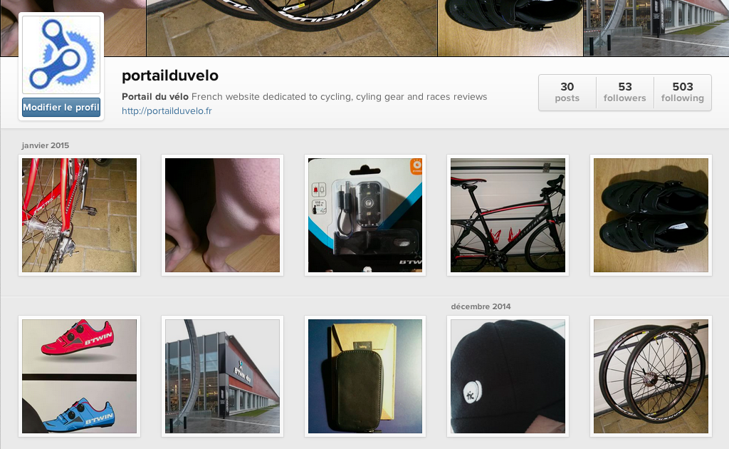 Compte Instagram Portail du vélo