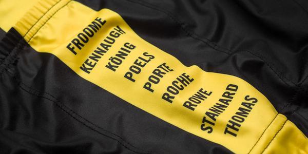 détail maillot rapha sky jaune