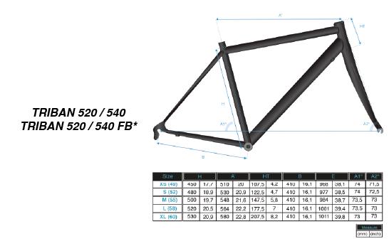 Géométrie Triban Evo Sport 540